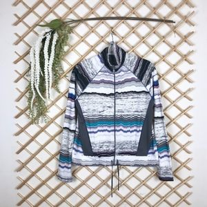 Abstract Stripe Pattern Athletic Soft Jacket